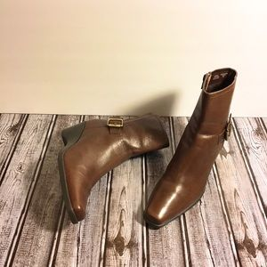 "Anne Klein ""Akdesi"" Iflex Brown Leather Booties"